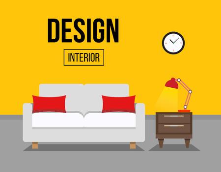Woonkamer met sofa interieur illustratie. Sofa met tafel en nacht lamp. Stock Illustratie