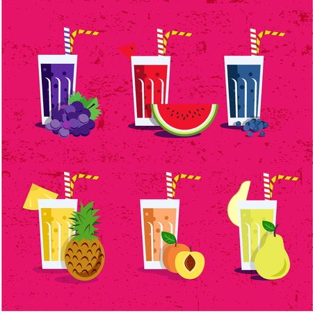shakes: Smoothie set with fruits. Menu element for cafe or restaurant with energetic fresh drink made in flat style. Fresh juice for healthy life. Organic raw shakes.
