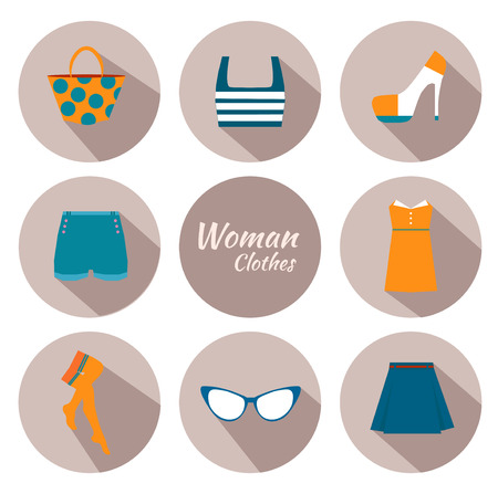 short skirt: woman clothing icon set with dress, glasses, stockings, bag and other. Flat design.