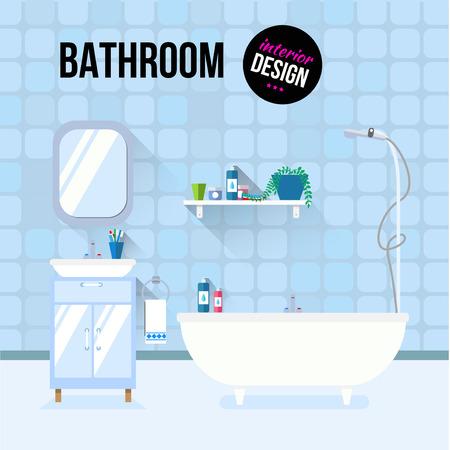 Bathroom interior design with sink and shampoo. Modern flat design illustration concept.  イラスト・ベクター素材
