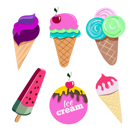 flavors: Set of colorful ice creams with various shapes and flavors. Illustration