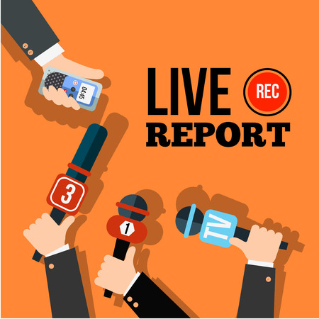 press news: Live news concept vector. Set of hands holding microphones and digital voice recorders. Live report template. Press illustration. Illustration