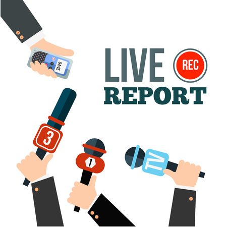 Live news concept vector. Set of hands holding microphones and digital voice recorders. Live report template. Press illustration.  イラスト・ベクター素材