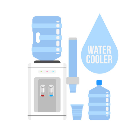 water cooler: Flat vector icon  water cooler. Water cooler with blue full bottle and cup. Flat vector icon on white background.