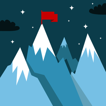 superiority: Mountain landscape with winner flag. Illustration in flat style for winter resort Illustration