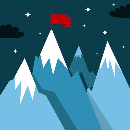 dominance: Paisaje de monta�a con la bandera de ganador. Ilustraci�n de estilo plana para estaci�n de invierno Vectores