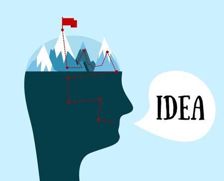 metaphorical: Vector man head. Idea concept. The mental process of creating ideas. Metaphorical illustration.