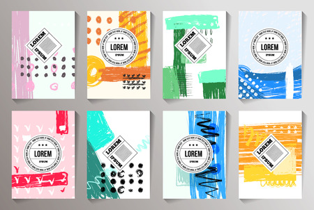 Set of Creative Cards backgrounds. Hand Drawn Hipster Textures for Posters, Flyers and Banner Designs and invite cards. Çizim