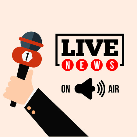 Live news concept vector. Set of hands holding microphones and digital voice recorders. Live report template. Press illustration. Çizim