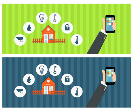 centralized: Vector concept of smart house or smart home technology system with centralized control of lighting, heating, ventilation and air conditioning, security and video surveillance Illustration
