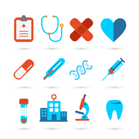 pharmacy symbol: Medicine and health care icons in flat style set.
