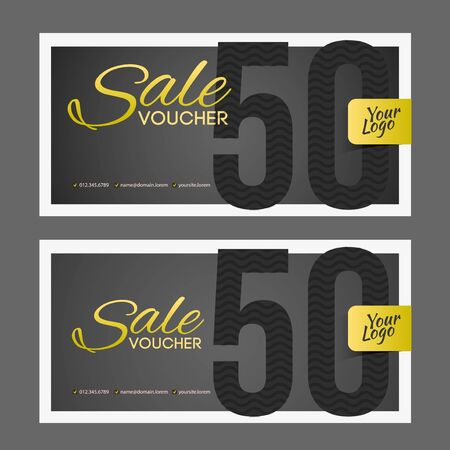 pretentious: Sale coupon or gift voucher with gold inscription.