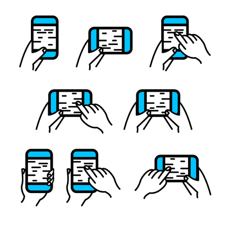 touchscreen: Phone in hand icon vector set. Hand gestures on smartphone touchscreen. Line style. Illustration