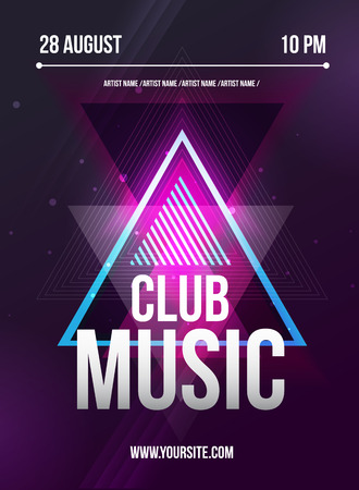 retro music: Party Flyer. Club music flyer. Dj lineup design. Vector template. Illustration