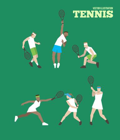 wimbledon: Tennis figure peoples with tennis racket set. Vector illustration