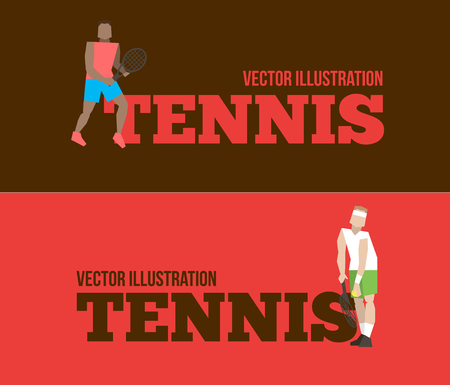 Tennis figure peoples with tennis racket set. Vector illustration