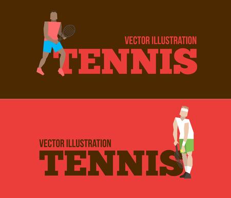cope: Tennis figure peoples with tennis racket set. Vector illustration