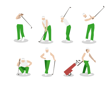 bogey: People playing Golf vector set. swing with a Golf club. golf car.