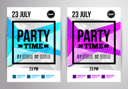 Party flyer design. Disco template. Vector illustration. For night club.