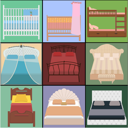 mattress: Vector bed set. Collection different types of beds. Vector illustration