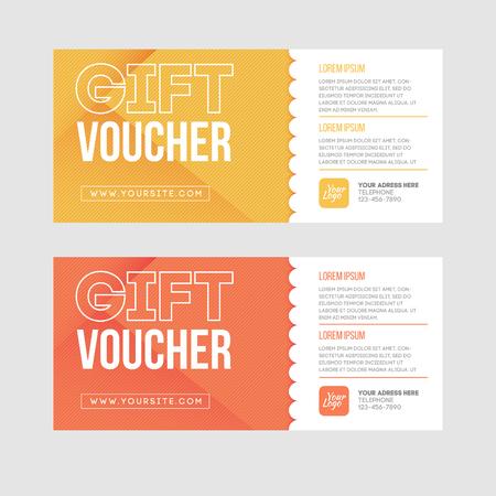 Cadeaubon template set. Twee gift cards design.
