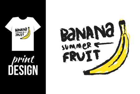 basic letters: banana hand drawn illustration with text. Vector illustration for t-shirt on other used. Illustration