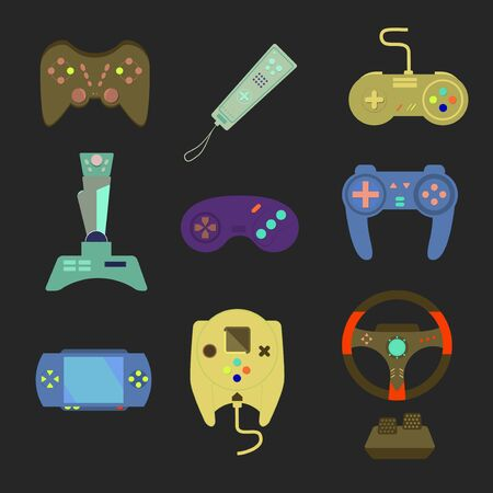 player controls: Game joystick and controller set. Various devices. Flat vector illustration game environment, tools and essentials.