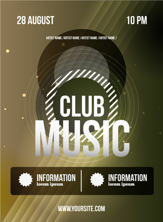 sensation: Party Flyer. Club music flyer. Dj lineup design. Vector template. Illustration