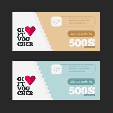 restaurant bill: Gift voucher template set. Two gift cards design.