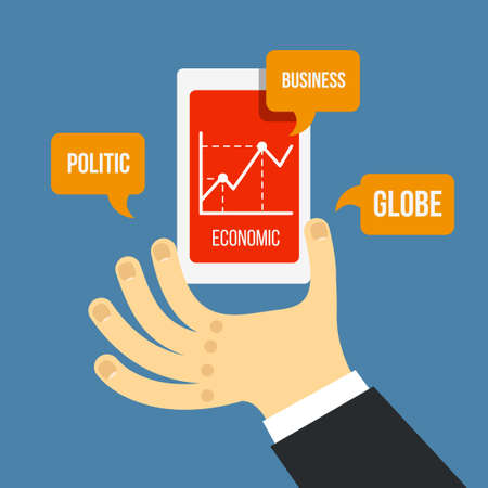 volatility: Vector mobile phone and hand with financial schedule in flat style