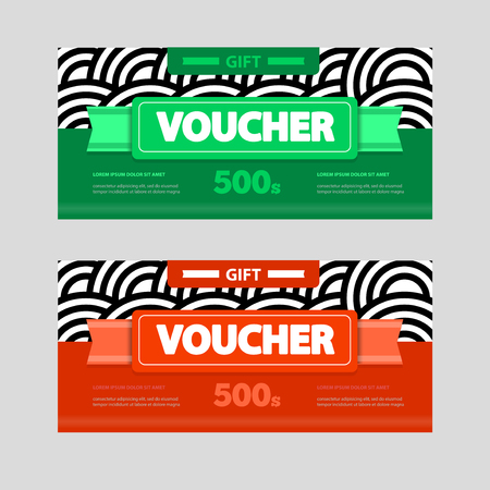 amount: Two coupon voucher design. Gift voucher template with amount of discount and Contact Information. For hotel, restaurant, shop or other business.
