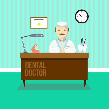 chair cartoon: Dentist in dental clinic. The doctor is sitting at the table. Dental office vector illustration.