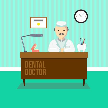 hospital caricatura: Dentista en la cl�nica dental. El m�dico est� sentado en la mesa. ilustraci�n vectorial consultorio dental.