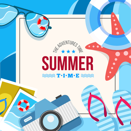 flip flop: Vector summertime traveling illustration. Card with summer accessories, star, camera, flip flop, photo and other Illustration