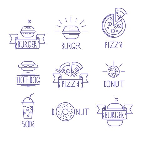 Vector fast food design elements. Linear style. Outline emblems and badges burger, hotdog, donat, pizza and soda water. Illustration