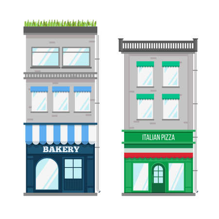 multistorey: Multi-storey building with roof terrace and a shop on the ground floor. Flat style vector illustration.