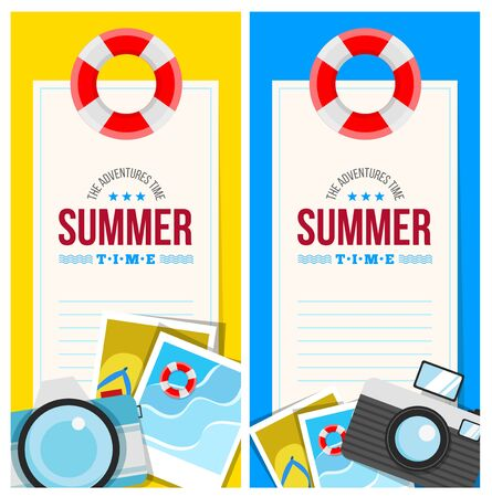 flip flop: Summertime invite card concept with summer accessories, star, camera, flip flop, photo and other