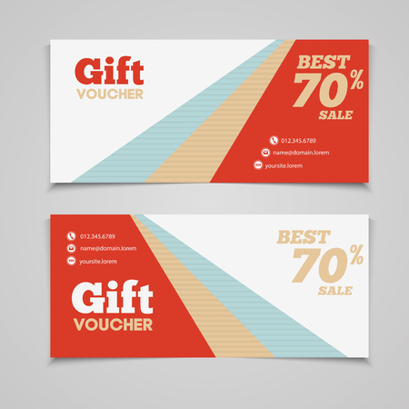 restaurant bill: Gift voucher template with amount of discount and Contact Information. For hotel, restaurant, shop or other business. Illustration
