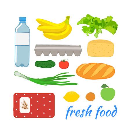 garlic bread: Food set with fruit and vegetables. Illustration