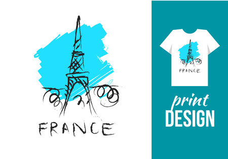 fashion week: Eiffel tower hand drawn illustration with text france. Vector illustration for t-shirt on other used.