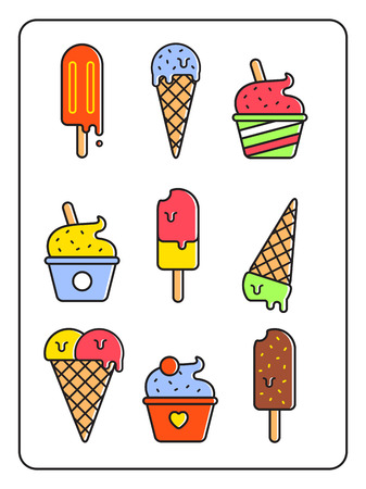 mixed nuts: Ice-cream vector set. Outline style design. Illustration
