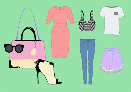 stockings woman: woman clothing set with dress, glasses, stockings, bag and other.