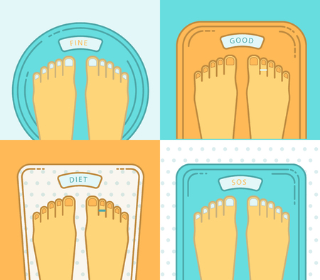 deliberation: Bathroom scales with legs. Overweight banner design.