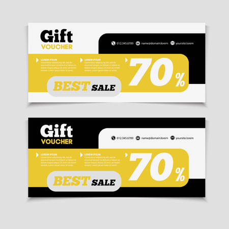 credential: Gift voucher template with amount of discount and Contact Information. For hotel, restaurant, shop or other business. Illustration