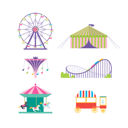 carnival ride: Amusement park vector set. Ferris wheel, roller coaster, popcorn, carousel, carousel with horses