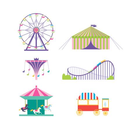 tren caricatura: estableció el parque de atracciones del vector. noria, montaña rusa, palomitas de maíz, carrusel, carrusel con caballos