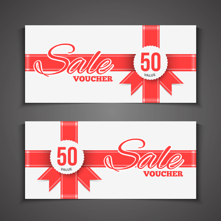 paper  texture: Sale coupon or gift voucher with red ribbon. gift wrap design voucher. Illustration