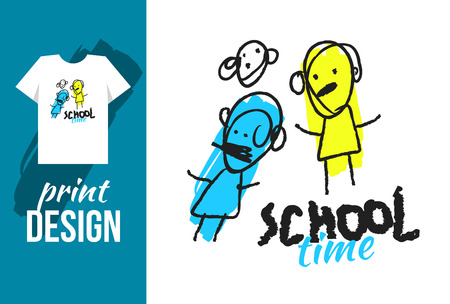basic letters: School time hand drawn illustration with text and funny kids. Vector illustration for t-shirt on other used.