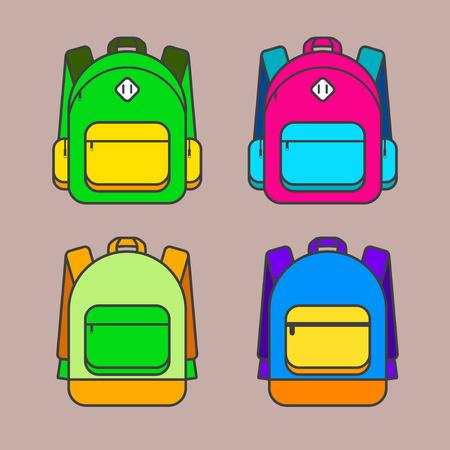 mochila escolar: ilustraci�n vectorial bolsa de la escuela. bolsa de la escuela icono colorido del vector. Bolso de escuela para los estudiantes. Las l�neas de tendencia de dise�o para el cole. Bolso de escuela para los libros.