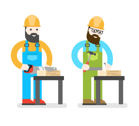 cartoon carpenter: ?onstruction worker with saw. Man sawing a Board. Woodworcker or joiner. Good builder in uniform. Service man.